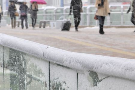 onlooker: Pedestrian snow day Stock Photo