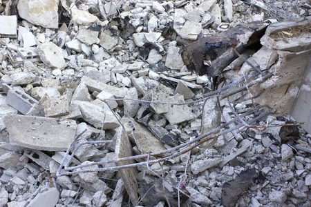 dismantle: Dismantling construction of concrete houses Stock Photo