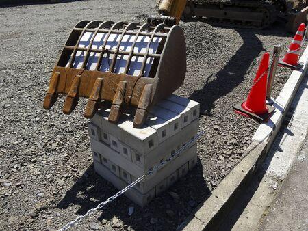 maquinaria pesada: Maquinaria pesada de la obra de construcción de ingeniería civil Foto de archivo