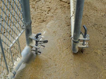 wire mesh: Door of the ground wire mesh Stock Photo