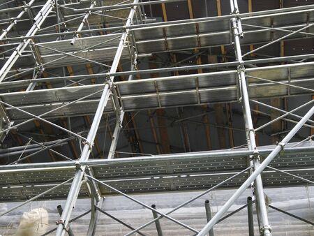 andamios: Construcción de andamios de construcción de madera Foto de archivo