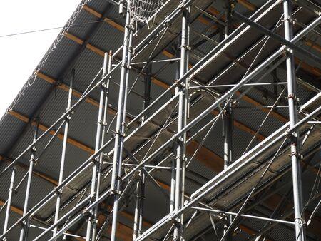 Wooden building construction scaffolding Archivio Fotografico
