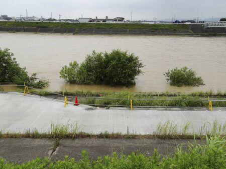 rainfall: Rivers swollen by heavy rainfall. Stock Photo