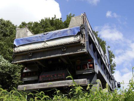 dump truck: Dump truck at a construction site