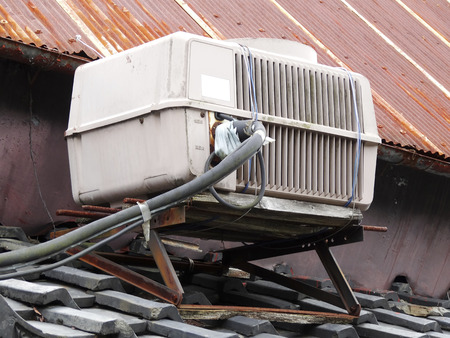 a unit: Old air conditioner outdoor unit