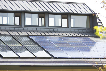 economize: Solar Panel Stock Photo