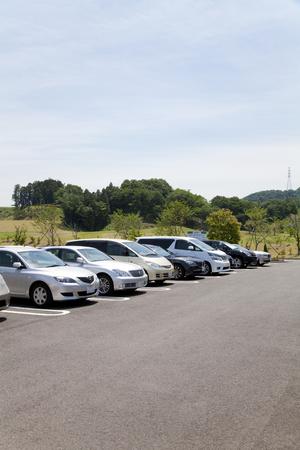 parking facilities: Golf course parking lot Stock Photo
