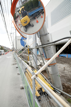 telephone poles: Telephone poles leaned on liquefaction Editorial