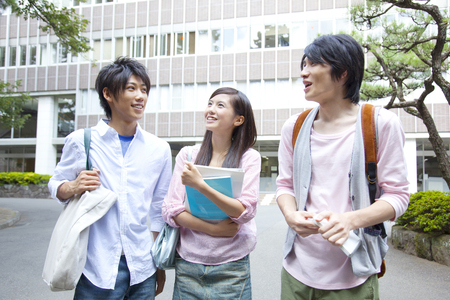 Chatted to university students Stock Photo