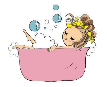Girl taking a bath Stock Photo