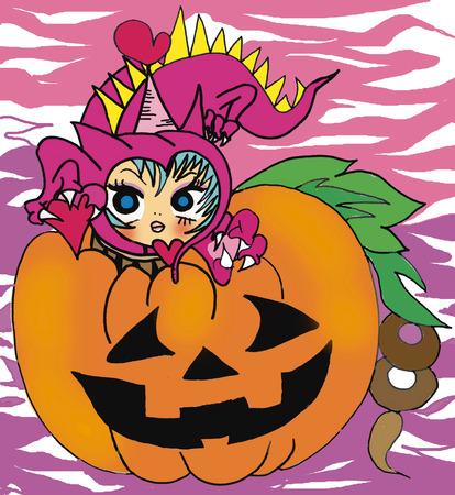 Girl of Jack O lantern and dragon costume
