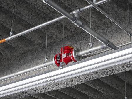 water pipe: Sprinkler water pipe of parking Foto de archivo