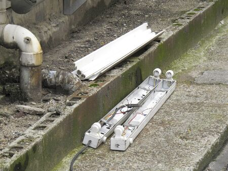 abandonment: Illegal dumping fluorescent lamps