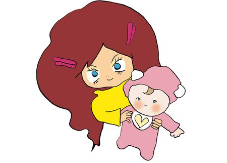 赤ちゃんと女性 写真素材