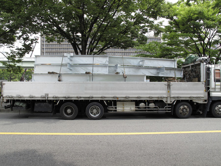 steel frame: Truck loaded with steel frame Stock Photo