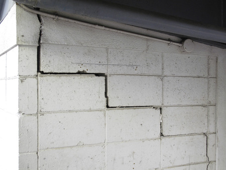 crazing: Cracks in concrete block wall Stock Photo