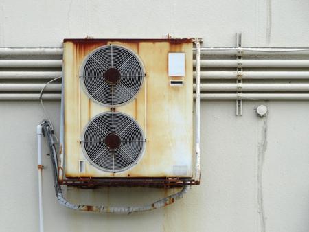 air: Rusty air conditioner outdoor unit