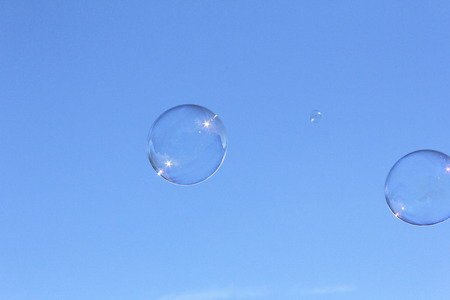 levitate: Blue sky and bubbles