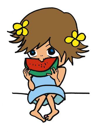スイカを食べる女子高生