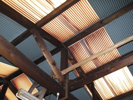 degradation: Vinyl tin of degraded warehouse roof