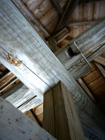 fulcrum: Timber beams and columns Stock Photo