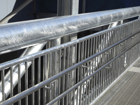 Handrail and fence of the footbridge of stainless 写真素材