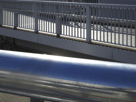 metal handrail: Handrail and fence of the footbridge of stainless Stock Photo