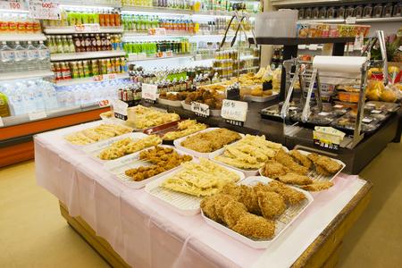 food hygiene: Fried food corner of the supermarket