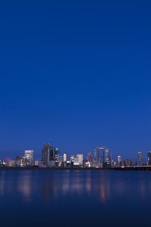 kita: Yodo River from Osaka skyscrapers at night.