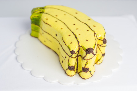 banana cake creatively decorated
