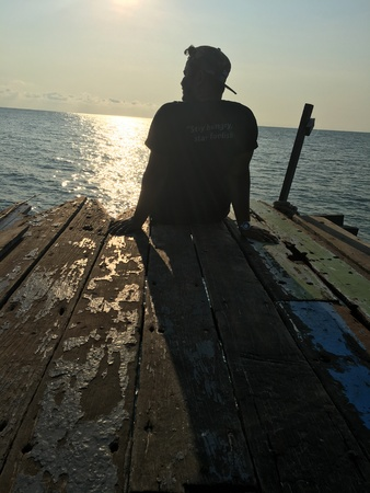 man: a man enjoy the Sunrise