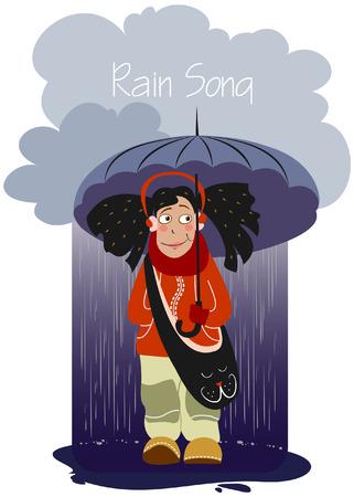 Dreadlocks girl in headphones with an umbrella