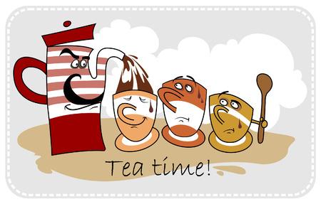Funny cartoon teapot and tea cups 向量圖像