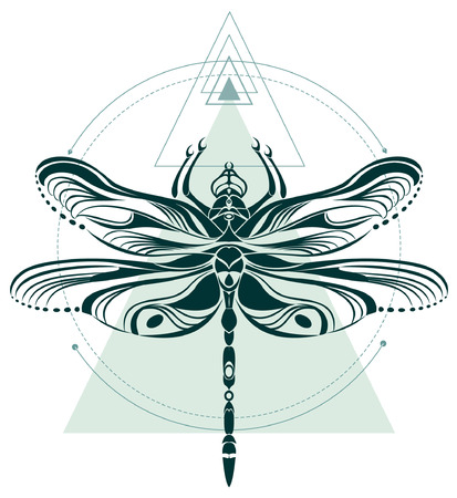 Dragonfly geometric pattern for tattoo art or t-shirt print 版權商用圖片 - 112650928