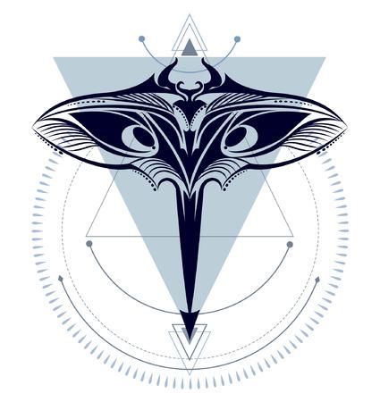 Mantarochen-Druck-Kunstmuster für Tattoo- oder T-Shirt-Druck Vektorgrafik