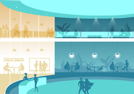 interior with people of a large office building or shopping mall