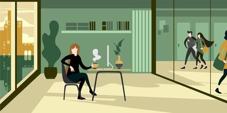 Interior ambiental eco verde del espacio de trabajo de la oficina moderna con una niña en la computadora tomando café