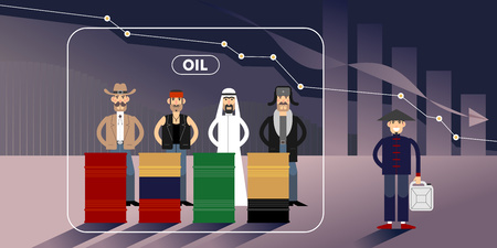 Chart of falling oil prices with different national character personages