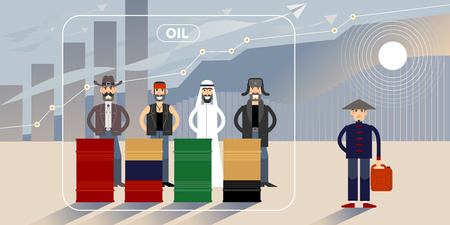 Oil price growth chart illustration with different national character personages