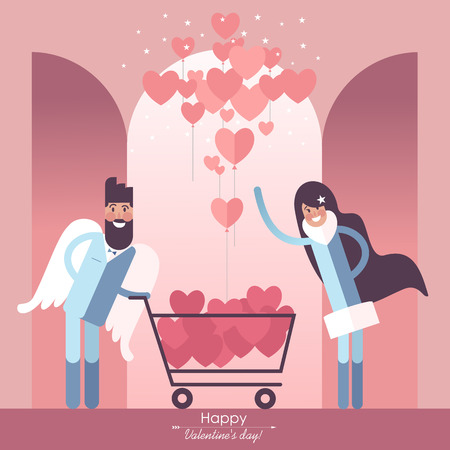 Cute couple in love with Shopping cart and valentines heart-shaped balloons