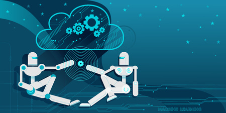 Two android robots, symbolizing machine learning, exchange information with each other through the Cloud computing. Vector flat illustration blue modern background.