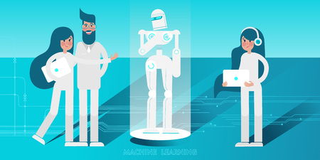 Young scientists with laptops programming and controlling humanoid android Robot. Vector flat illustration.