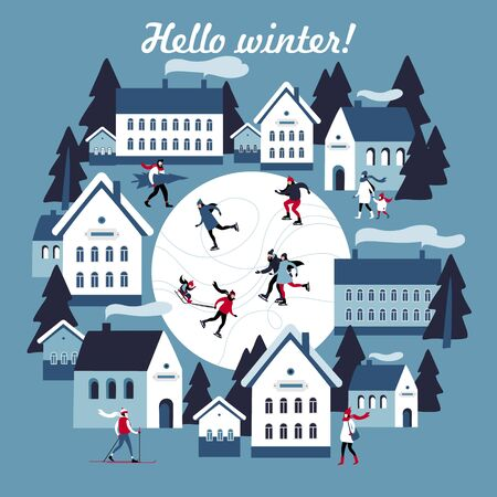 Winter greeting card with Public & Leisure Skating in a small snowy town. Vector illustration.