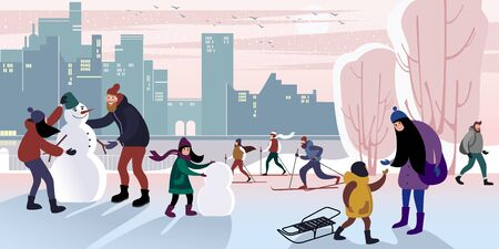 Family walk in a winter city park to make a snowman with dad. Vector flat illustration. 向量圖像