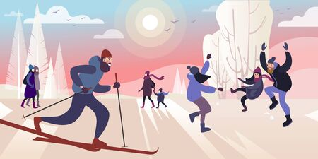 A ski trip to the winter city park on a frosty day in warm outer winter clothing. Vector illustration. 向量圖像