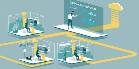 Technical Illustration explaining how cloud computing enhancing our ability to learn and work anywhere. Isometric layout explaining the principle of distance education in the home through the cloud.