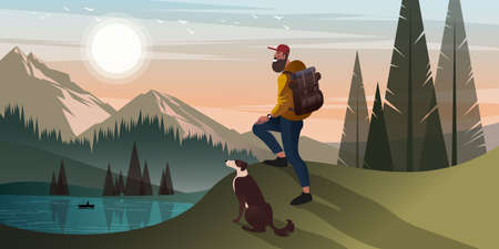 Young bearded man is hiking in the mountains with a dog. Flat graphic vector illustration.