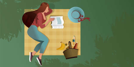 Young girl reading a magazine on a picnic blanket. Top view. Summer city park scene. Flat graphic vector illustration.