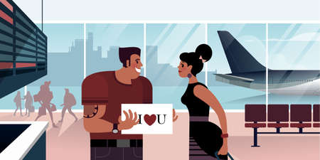 The guy with the sign I love you meets his girlfriend in the airport arrivals hall. Scenes from the life of an air passenger. Flat design Vector illustration.