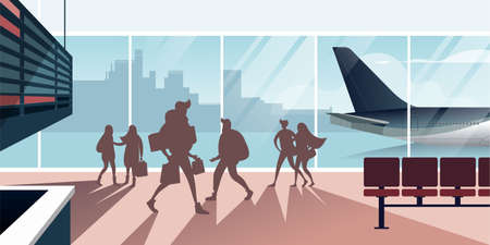 Hurrying people in the airport hall. Scenes from the life of air passengers. Flat design vector illustration.